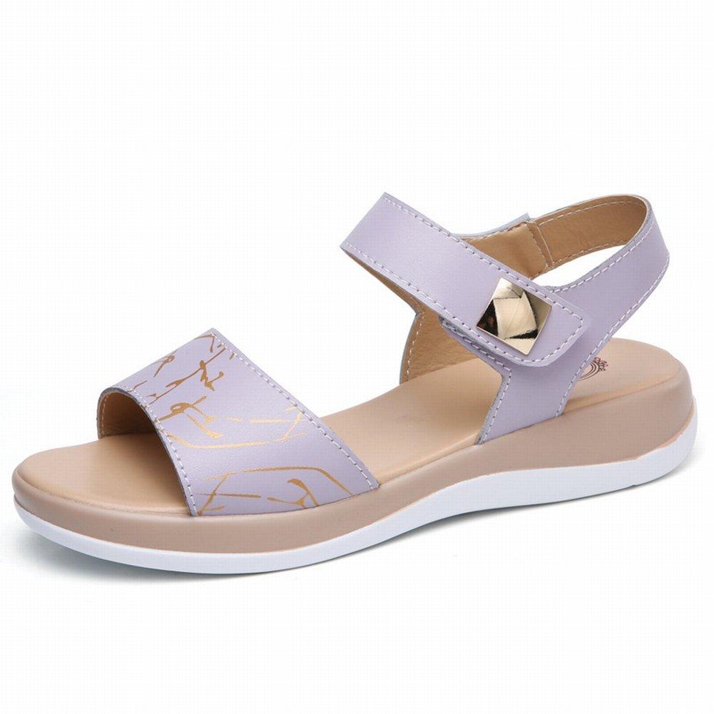 YTTY Mode Gedruckt Sandalen Komfort All-Match-Schuhe Leder Hohe Frauen Sandalen  40 Grau