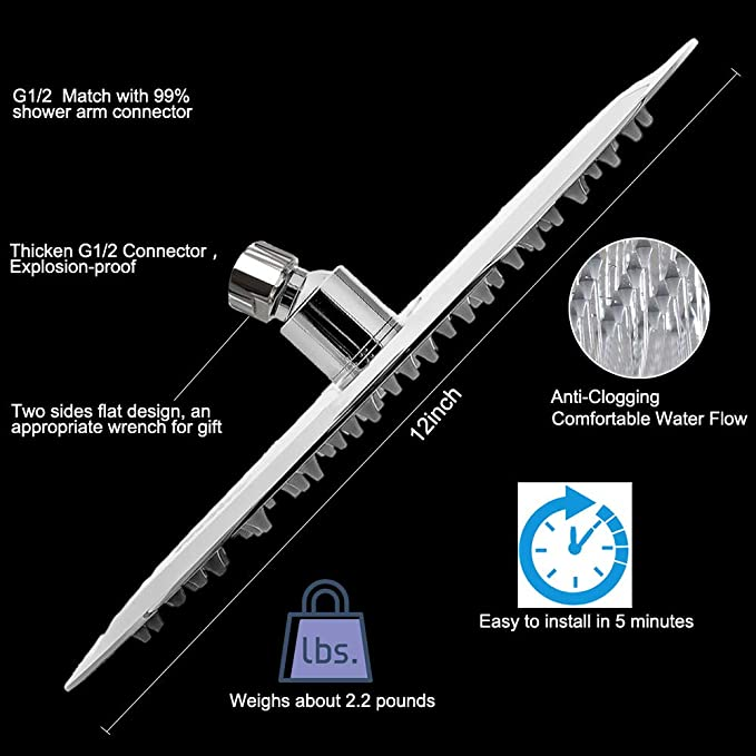 12 Inch Rain Shower Head with 11'' Adjustable Extension Arm, Large  Stainless Steel High Flow Rainfall Showerhead,High Pressure Bath Shower  Waterfall