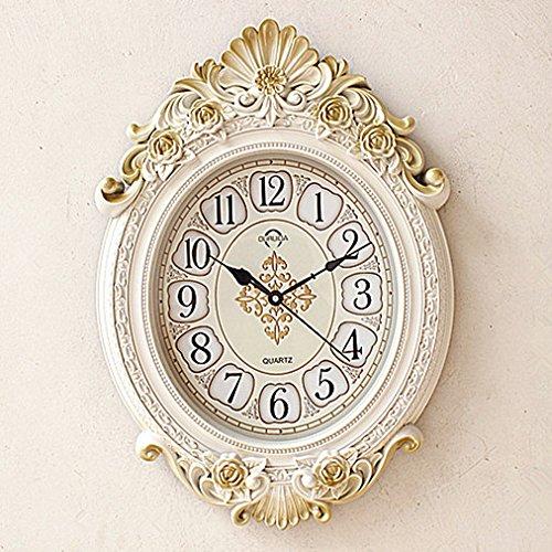 CGGGHY Continental Retro Wall Clock Mute Living Room Bedroom Office Study Modern Creative Personality Quartz Clocks 20 Inch Pearl White