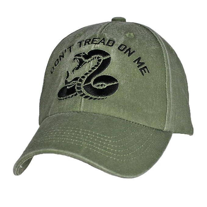 3b8667a439a Amazon.com  Don t Tread on Me Snake OD Green Adjustable Baseball Cap ...