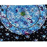 Vanitale Boho Tapestry Ethnic Blue and Black Mandala Wall Hanging Tapestries, Decorative Indian Floral Fabric Bedsheets Bedroom Wall Art Beach Throw (60'' x 80'', Blue Mandala)
