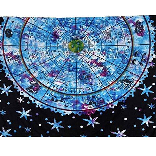 Vanitale Boho Tapestry Ethnic Blue and Black Mandala Wall Hanging Tapestries, Decorative Indian Floral Fabric Bedsheets Bedroom Wall Art Beach Throw (60'' x 80'', Blue Mandala) by Vanitale