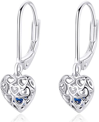 Pure Pink Topaz Genuine Natural Heart Dangle Earrings set in Sterling Silver Big and Beautiful!