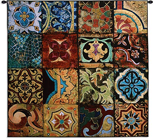 Arabian Nights I | Woven Tapestry Wall Art Hanging | Colorful Middle East Patchwork Tile Geometry | 100% Cotton USA Size 52x51 (Arabian Nights Wall Art)