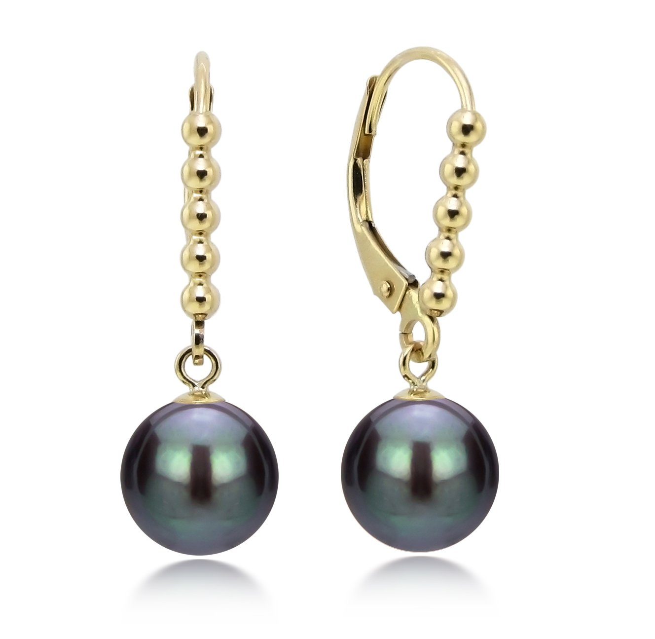 14k Yellow Gold 8-8.5mm Dyed-black Freshwater Cultured Pearl Beaded Design Lever-back Earrings