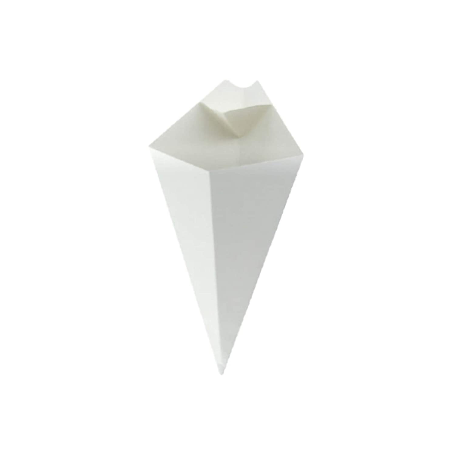 PacknWood White Paper Cones with Built in Dipping Sauce Compartment, 7.5