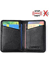 RFID Front Pocket Wallet Minimalist Wallet Slim Credit Card Holder Genuine Leather