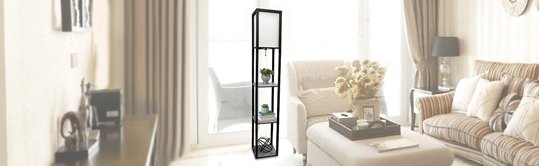 Simple Designs HomeEtagere Organizer Storage Shelf Floor Lamp
