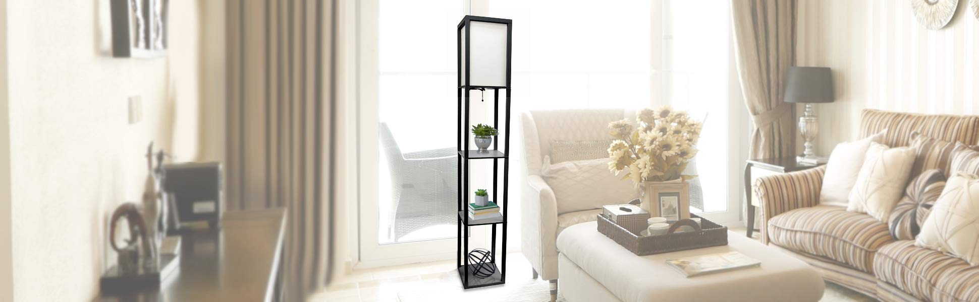 Simple Designs Home LF1014-BLK Etagere Organizer Storage Shelf Linen Shade Floor Lamp, Black by Simple Designs Home (Image #5)