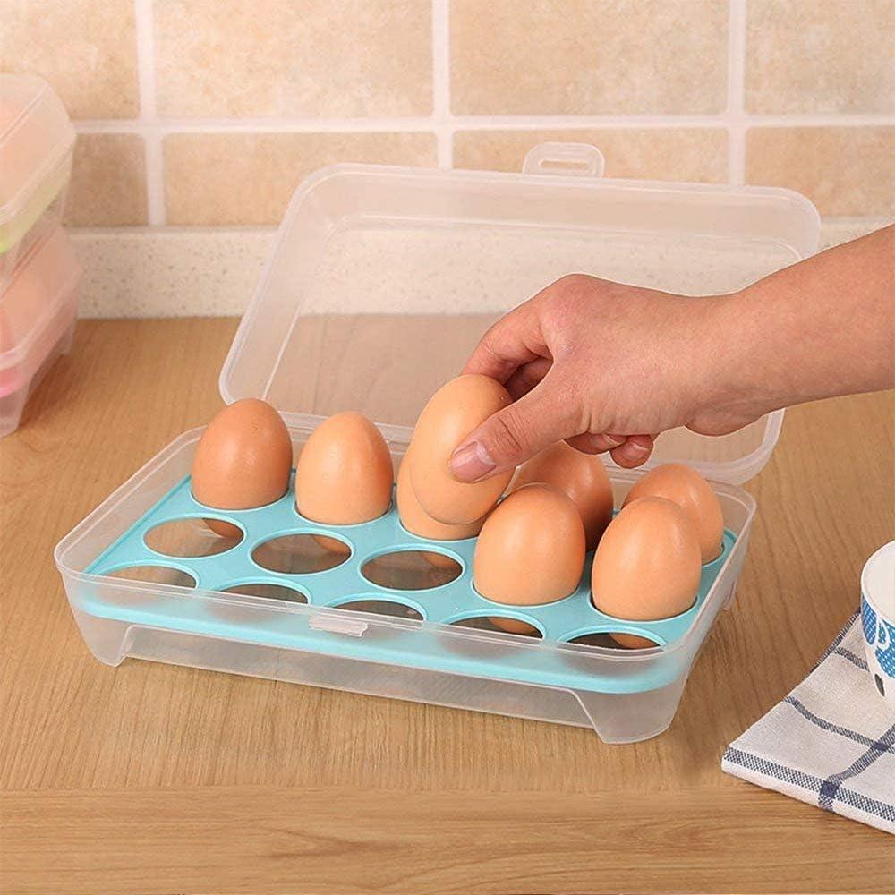 YGHH 2 Piezas Caja Almacenamiento de Huevos Durable 15 Celdas El Plastico Frigor/ífico Huevera Bandeja para Senderismo Picnic Camping Bandeja Almacenamiento Huevos de Pl/ástico Azul, Verde