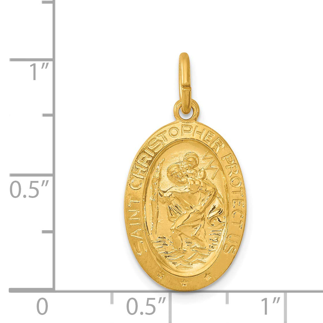 Solid Oval Saint Christopher Protect Us Words Charm In Gold Plated Sterling Silver 25x17mm