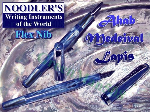 Noodlers Flex Nib Fountain Pen, Piston Fill, Medeival Lapis - Blue/White/Black (Noodlers Piston)