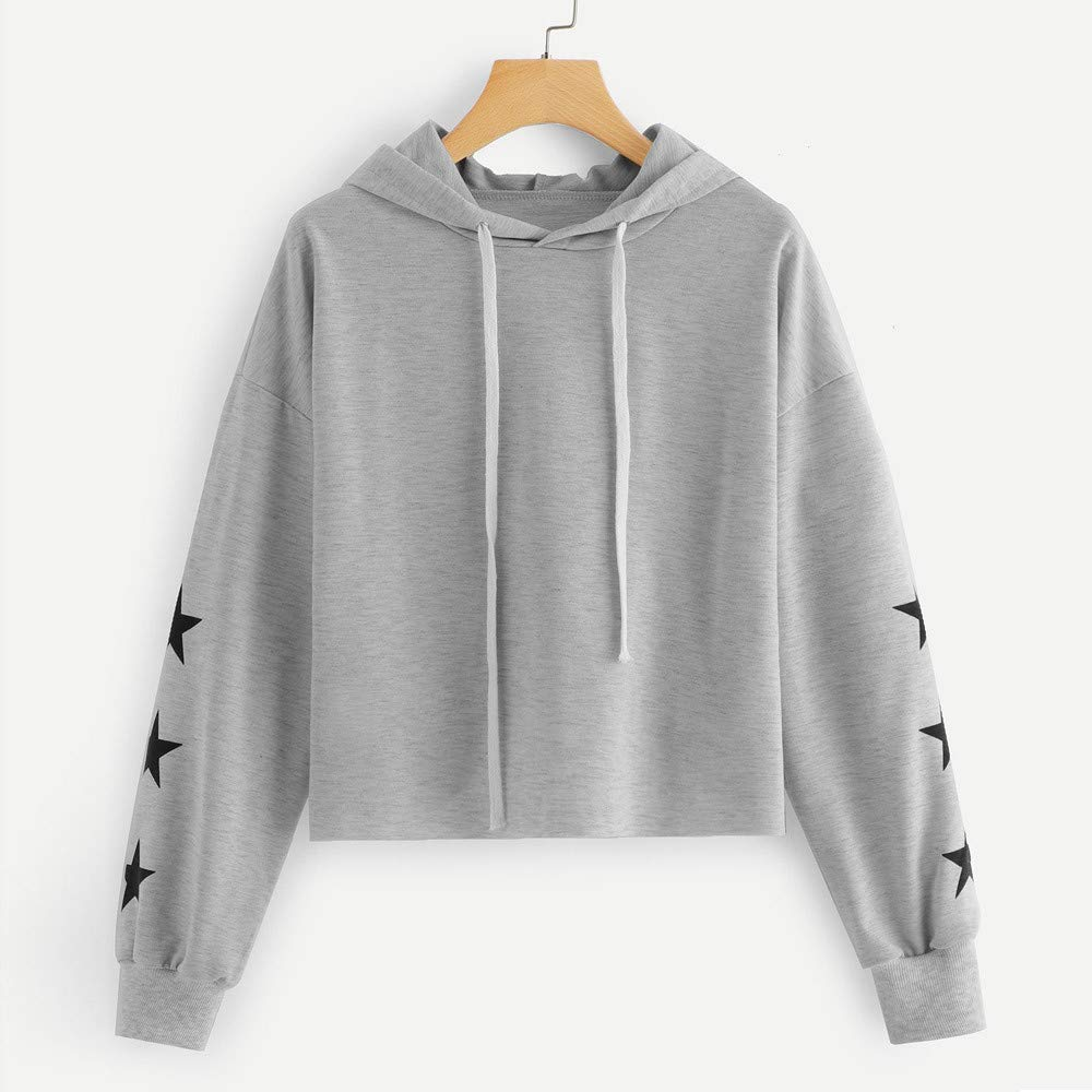 Amazon.com: Toimoth Womens Long Sleeve Round Neck Star Print Hooded Sweatshirt Pullover Blouse Tops: Clothing