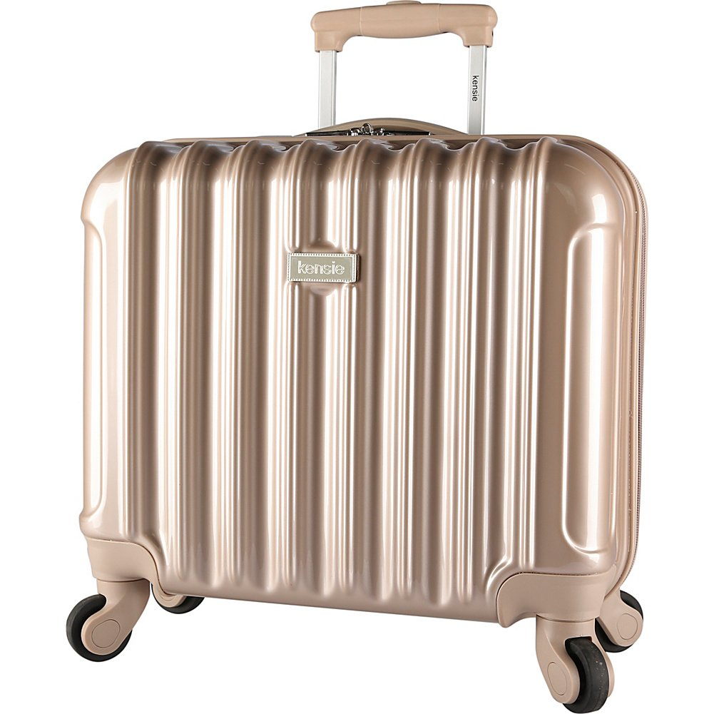 kensie Light Metallic Design 17'' Rolling Briefcase with TSA Lock, Pale Gold Color Option
