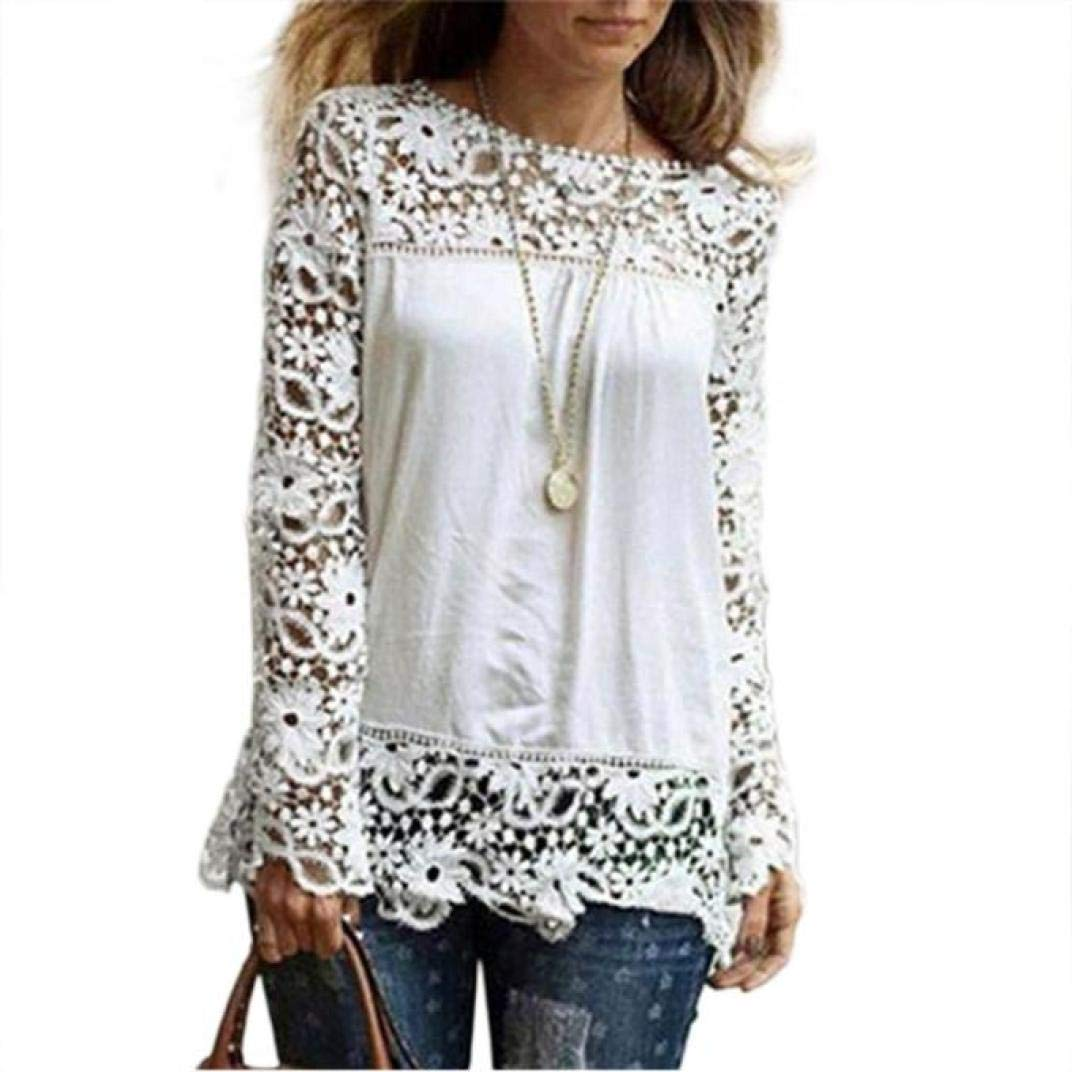 iQKA Women Plus Size Hollow Out Lace Splice Long Sleeve Shirt Casual Blouse Loose Top(White,Small)