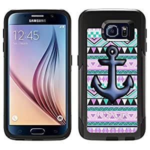 Skin Decal for Otterbox Commuter Samsung Galaxy S6 Case - Anchor on Aztec Andes Mauve Teal