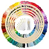 Arts & Crafts : Caydo 5 Pieces Bamboo Embroidery Hoops with 100 Colors Skeins Embroidery Thread Floss Cross Stitch and Needles