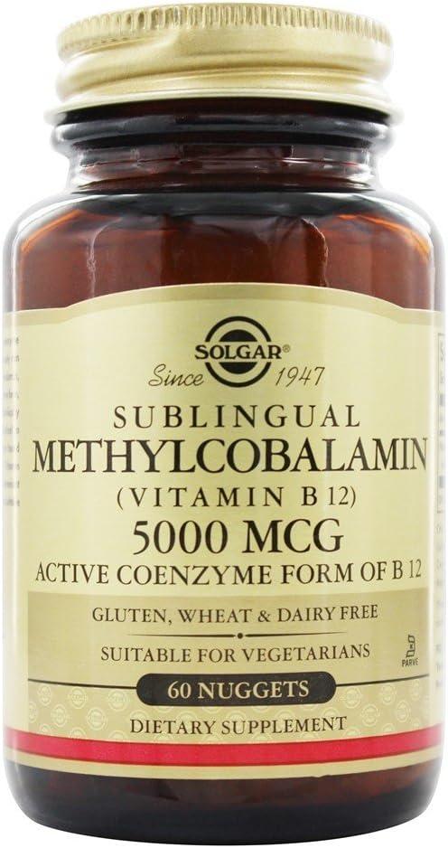 Solgar Methylcobalamin (Vitamin B12) 5000 Mcg, 60 Nuggets, 60 Count (Pack of 12)
