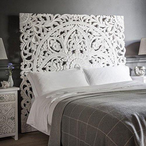 Boho Carved Wood Bed Headboard