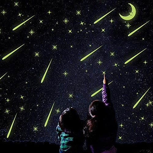 Kaimao DIY Glow in the Dark Luminous Light Meteor Shower Fluorescent Wall Stickers Art Decal Murals Removable Wallpapers for Home Decoration