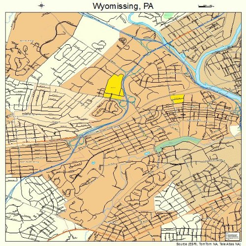 Large Street & Road Map of Wyomissing, Pennsylvania PA - Printed poster size wall atlas of your home ()