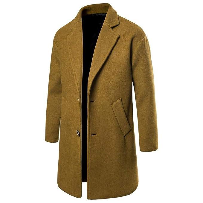 QUICKLYLY Gabardina Hombre Otoño Invierno 2019 Abrigo Larga Manga Traje Delgado Negocios Moda Outwear Cálido Chaqueta Empresarial Mediano/Largo Coat ...