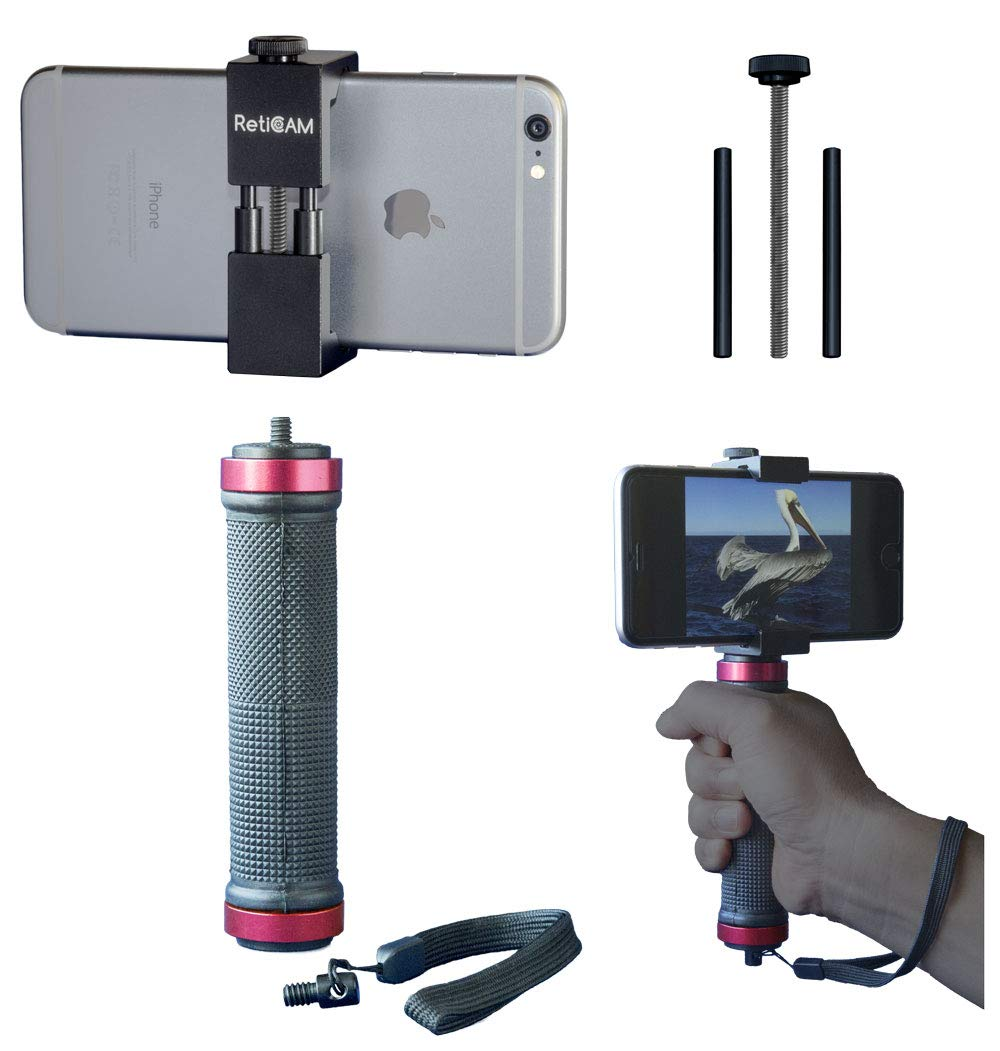 RETICAM Smartphone Tripod Mount with Hand Grip - All Metal Heavy-Duty Hand Held Stabilizer and Tripod Mount for Smart Phones and Cameras - HG30, Aluminum, Red by RETICAM