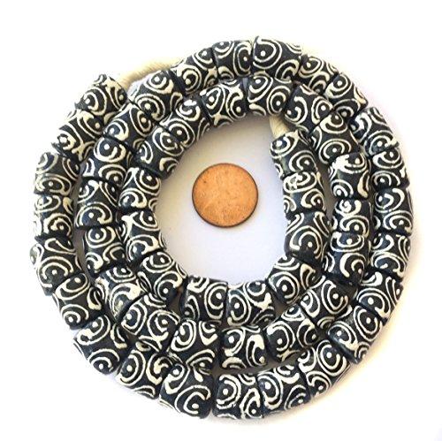Fair Trade Glass - Ghana Opaque black Zen Krobo Recycled Glass African trade beads - Strand of Eco-Friendly Fair Trade Beads from Ghana
