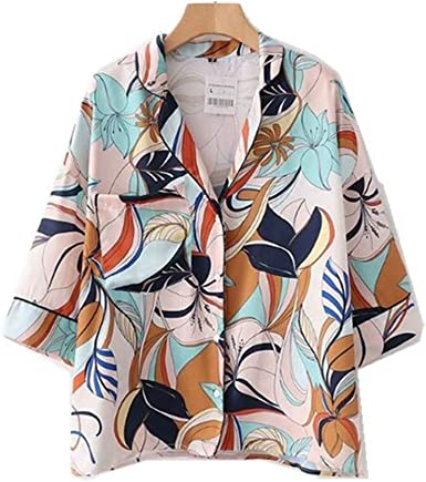 Meaeo Camisa Kimono con Estampado De Flores Grandes Y Muescas ...
