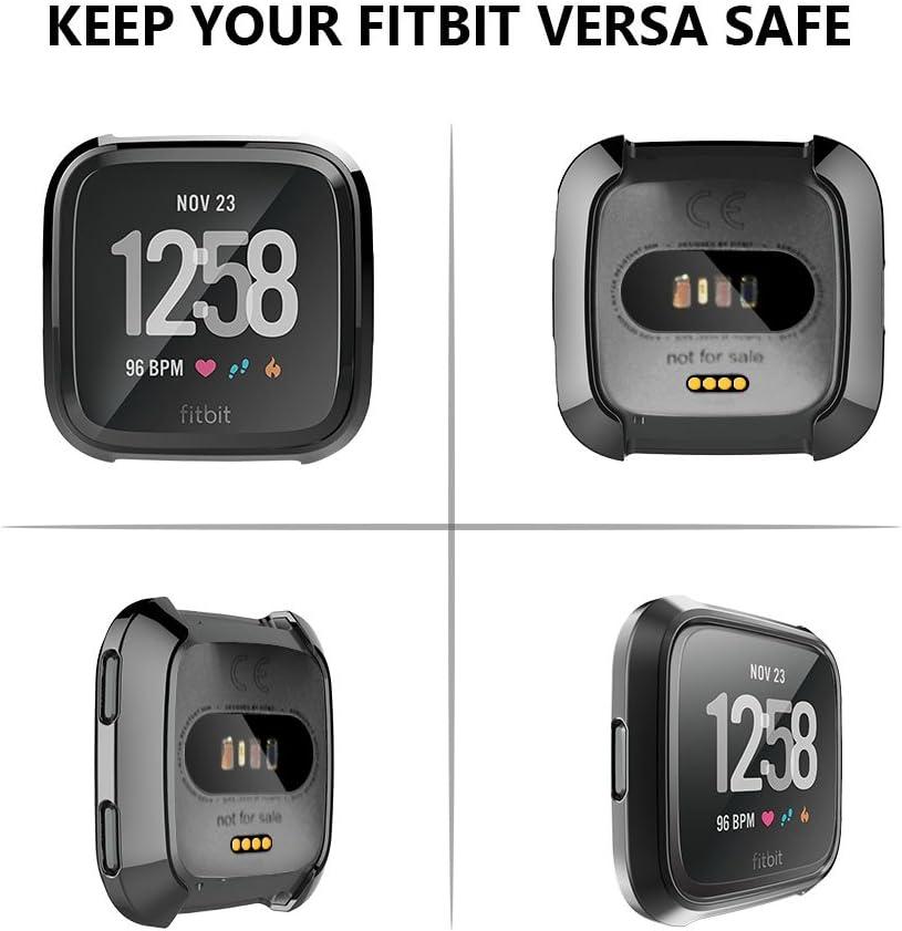 Women /& Men Fitbit Versa Protector Case Cover Full Frame Screen Protector Soft Slim TPU Shell Case Flexible Anti-Scratch Bumper Cover for Fitbit Versa Fitness Smart Watch