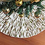CHICHIC Christmas 35.4'' Tree Skirt Burlap Ruffle Xmas Holiday Tree Decoration for Holiday Christmas Decoration