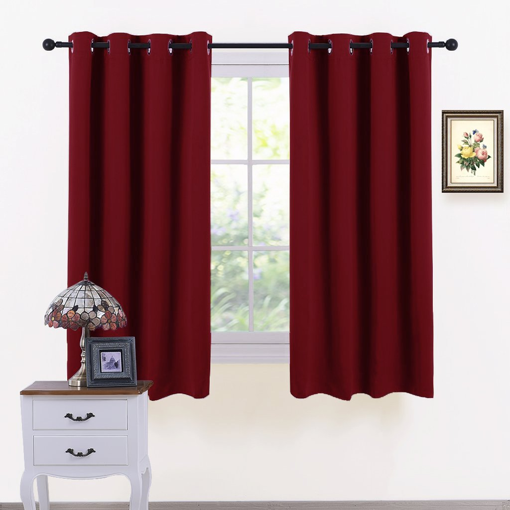 PONY DANCE Blackout Window Drapes - Window Covering Thermal Room Darkening Curtain Panels Light Block Noise Reducing Draperies for Home Decor, W 52 x L 63 Inch, Burgundy Red, Set of 2