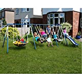 Heavy-duty Weather-resistant Super 8 Fun Metal Swing Set, Blue/White