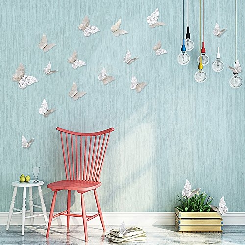 [PinkBlume 36 Pcs Silver Butterfly Decals Hollow-out 3D Butterfly Stickers Glitter Art Murals for Wall or Party Decorations] (Design Wall Decor Murals)