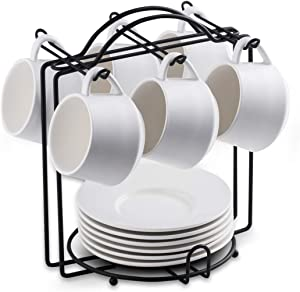 Espresso Cups with Saucers and Metal Stand Set of 6 4 oz Cappuccino Cups Teacup for Tea Party White