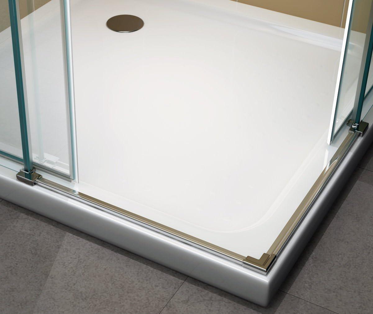 ESG 200 cm hoch #88 75cm X 90cm ohne Wanne i-flair Schiebetuer Eckdusche Duschkabine Eckeinstieg mit Rollsystem aus Sicherheitsglas