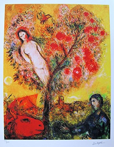 (Wall Art by Marc Chagall Tree Of Life Limited Edition Facsimile Signed Small Giclee Print. After the Original Painting or Drawing. Paper 15 Inches X 11 Inches)