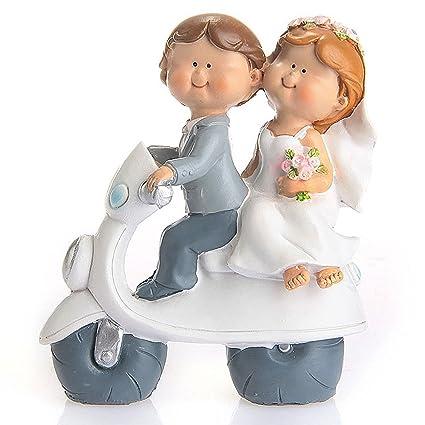 Amazon.com: Riverbyland Cartoon Motorcycle Couple Wedding Cake ...