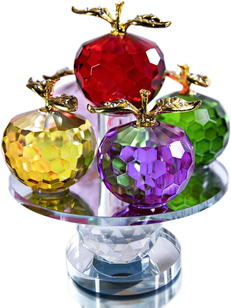 H&D HYALINE & DORA Colorful Crystal Apple Paperweight with Gold Stem Ornament, Roating Base Decor for Tabletop, Gift Boxed