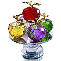 QF 5.1inches Height, 5 Colors Crystal Faceted Apples Ornament, Glass Apple Figurines Collectibles with Rotatable Base…