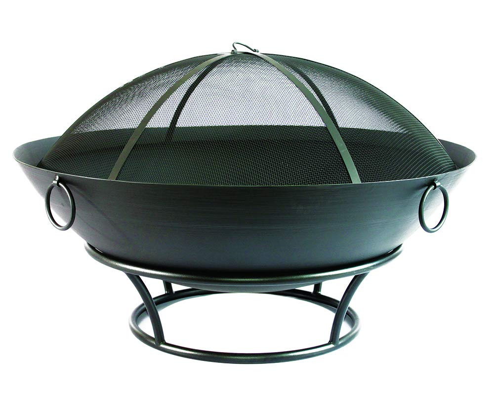 Catalina Creations 43.5 Extra Large Outdoor Steel Fire Pit and Spark Screen Outdoor Firepits for Outside Made for XXL Large Bonfire