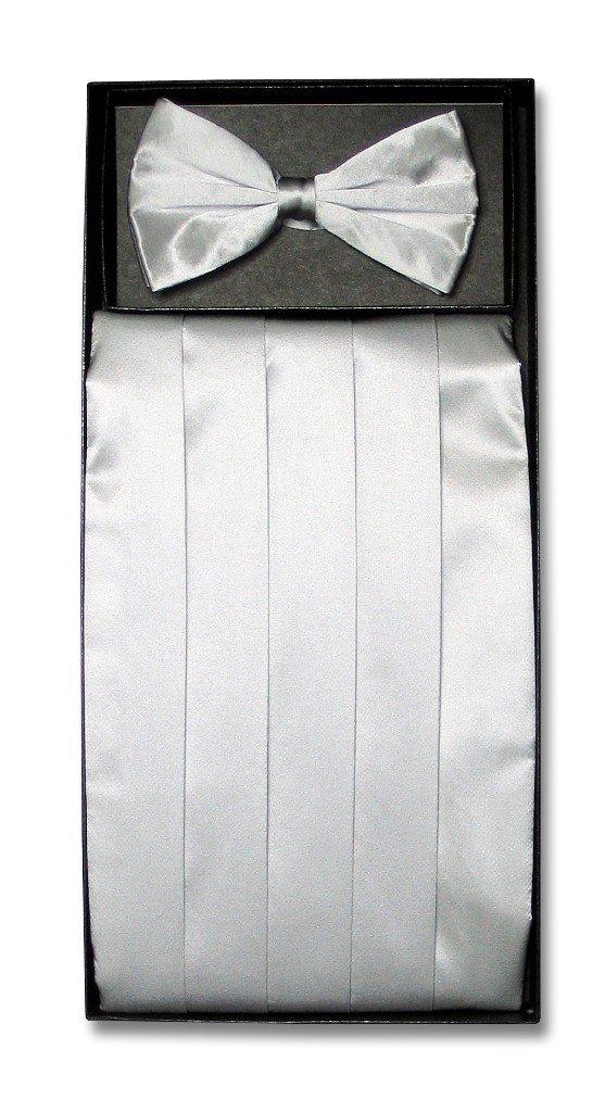 SILK Cumberbund BowTie Solid SILVER GRAY Color Men's Grey Cummerbund Bow Tie Set