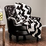 #10: Chanasya Super Soft Fuzzy Faux Fur Chevron Print White and Black Sherpa Sofa Couch Bed Microfiber Throw Blanket( 50