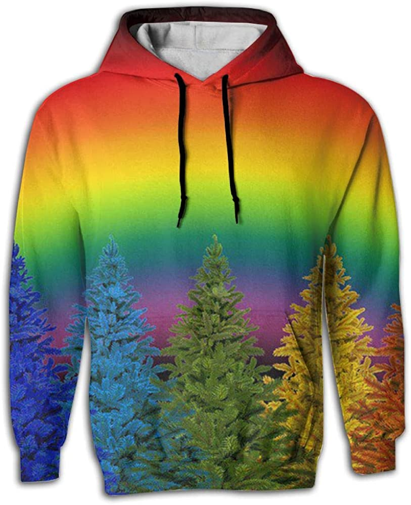 Mens Patterns Print Athletic Sweaters Christmas Colorful Rainbow Colors Novelty Hoodies Sweatshirts