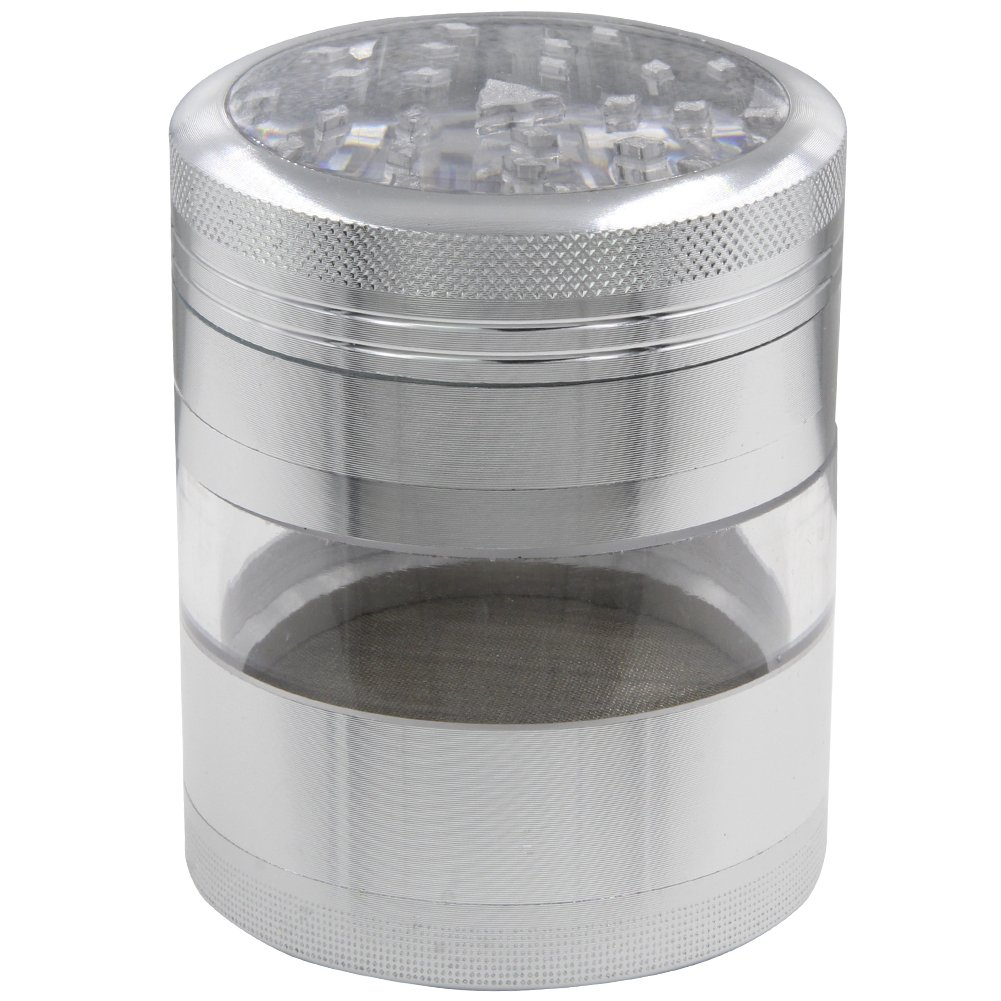 Large Spice Tobacco Weed Grinder - Four Piece with Pollen Catcher - Aluminium Herb Mill with Visible Transparent Chamber 63MM (Black) DCOU 63LTHCA