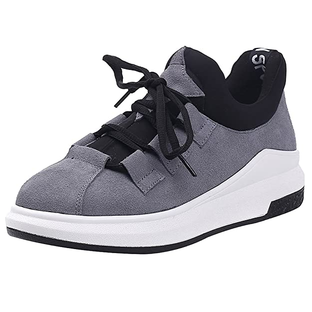 Shenn Damen Plattform Schnüren Laufen Beiläufig Wildleder Leder Sneaker Schuhe 2609X(Rot,EU37)