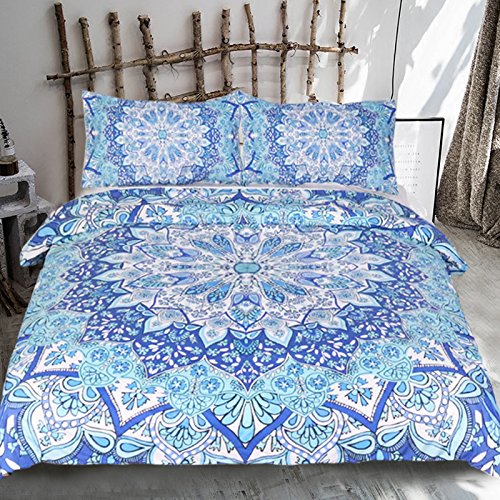 Sleepwish Bohemian Paisley Duvet Covers 3 Piece Boho Chic Floral Bedding Lotus Flower Mandala Bedding Duvet Cover (Twin)