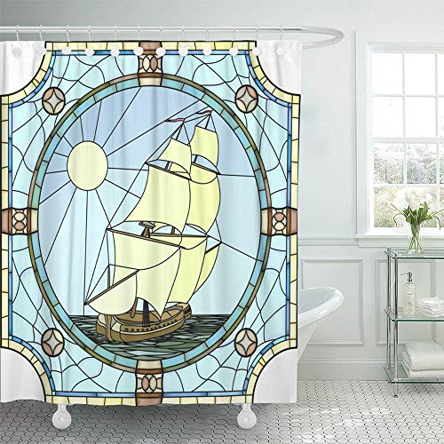 Emvency Shower Curtain Set Waterproof Adjustable Polyester Fabric Mosaic with Large Cells of Sailing Ships The 17Th Century in Round Stained 72 x 78 inches Set with Hooks for Bathroom -
