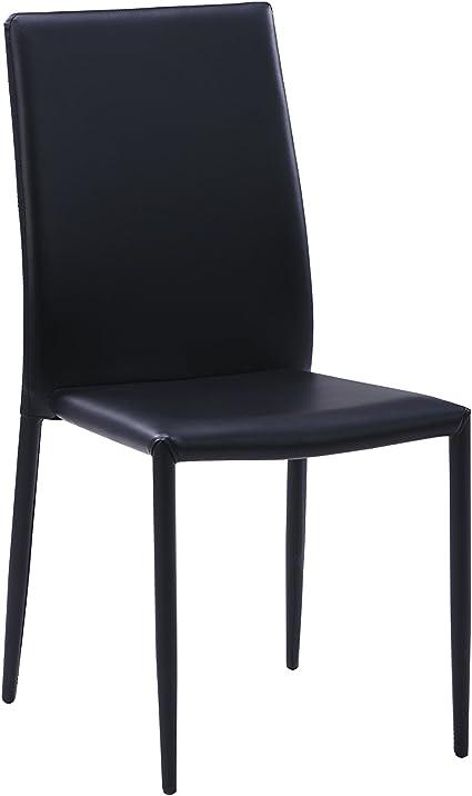 6 sedie moderne nere in ecopelle per arredamento sala da pranzo e cucina, colore nero, solo 6 sedie