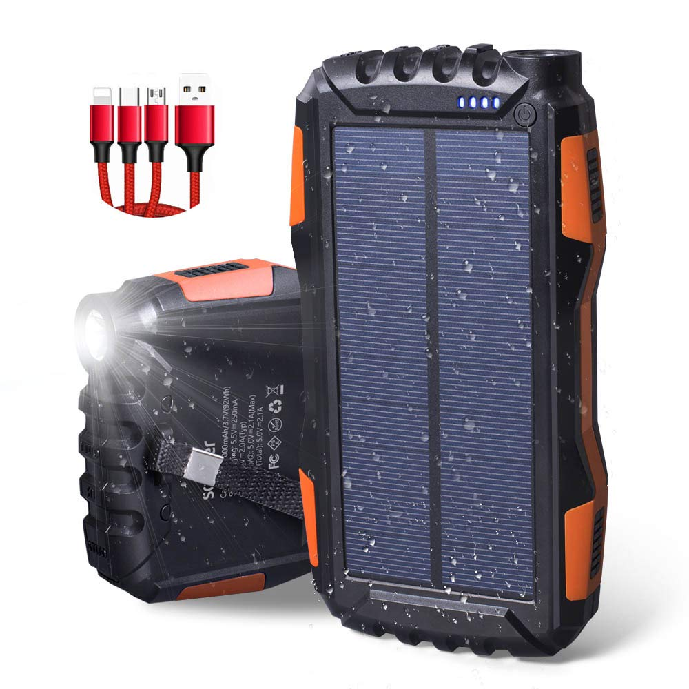 Solar Charger 25000mAh,Waterproof Solar Power Bank,Dual USB Backup Battery Pack Charger with LED Flashlights and Charging Cable by UPEOR